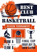 Basketball Ball, Champion Trophy Cup And Basket Shield Grunge Poster With Ribbon Banner For Sporting poster