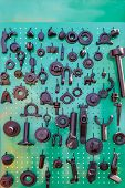 Details And Components Of Agricultural Implements. Agricultural Machinery. Spare Parts For Agricultu poster