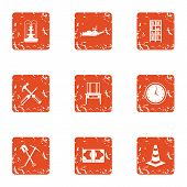 Private House Icons Set. Grunge Set Of 9 Private House Icons For Web Isolated On White Background poster