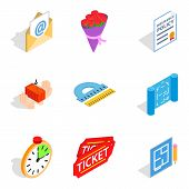 Work Sample Icons Set. Isometric Set Of 9 Work Sample Icons For Web Isolated On White Background poster