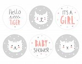 Lovely Baby Shower Round Shape Tag Set. Cute Little White Tigers With Tiny Stars On A Grey Backgroun poster