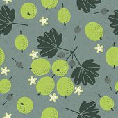 Ripe Green Gooseberry Seamless Pattern. Red Figs With Leaves And Flowers On Shabby Background. Origi poster