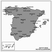 Map Of Spain. Bright Illustration With Map. Illustration With Gray Map. Spain Map With Spanish Major poster