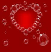 A heart made from soap bubbles on a red background can be used for love or valentines day saved in EPS10 format