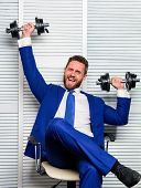 Healthy Habits In Office. Strong Powerful Business Strategy. Man Raise Heavy Dumbbells. Boss Busines poster