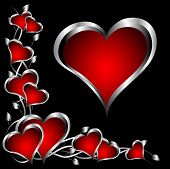 A red hearts Valentines Day Background with silver hearts and flowers on a black background