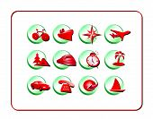 Travel Icon Set: Red-Green poster