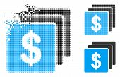 Finances Icon In Dispersed, Dotted Halftone And Whole Variants. Particles Are Combined Into Vector D poster