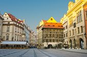 Street cafes on Old Town Square, early morning, Prague, Czech Republic