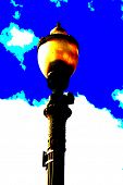 pop art version of a street light with blue sky and white fluffy clouds in the background poster