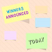 Word Writing Text Winners Announced. Business Concept For Announcing Who Won The Contest Or Any Comp poster