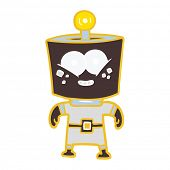 happy energized flat color style cartoon robot poster