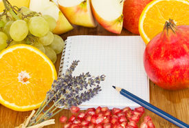 picture of recipe card  - blank notebook for recipes with frame of fruits  - JPG