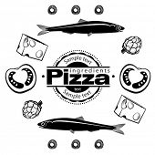 Ingredients for  pizza with anchovies. Vector illustration in the engraving style, can be used for d