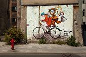 KATOWICE, POLAND - AUGUST 1: Graffiti murals by unknown artist created of the Katowice Street Art Fe
