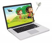 illustration of a laptop and kids on a white background