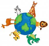 illustration of various animals on earth globe on white