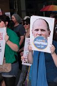 Brisbane, Qld Australia - August 11 : Unidentified Woman With Anti Campbell Newman  Sign During Gay