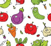 Seamless background texture of happy eco vegetables