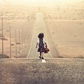 Girl walking alone