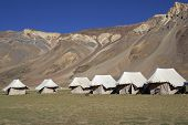 stock photo of manali-leh road  - Tented tourist camp on the high altitude Lingani plains at Sarchu  - JPG