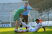 KAPOSVAR, HUNGARY - AUGUST 4: Bojan Vrucina (white 19) injured at a Hungarian National Championship