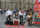 EDINBURGH- AUGUST 11: Members of Parker Rees Rubini publicize their show Hoof Hoof during Edinburgh Fringe Festival on August 11, 2012 in Edinburgh