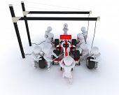 3D Render de um carro de corrida pit stop