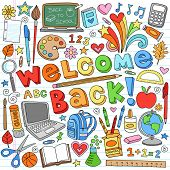 Welcome Back to School Classroom Supplies Notebook Doodles Hand-Drawn Illustration Design Elements o