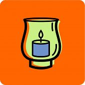 stock photo of hurricane clips  - Illustration of a hurricane candle holder on an orange background - JPG