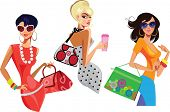 three fashion women with bags