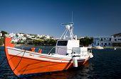 Greek Fishing Boat In Harbor Greece Islands