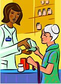 A Pharmacist Showing A Product To An Elderly Patron