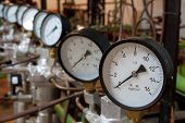 stock photo of manometer  - Manometers in the boiler - JPG
