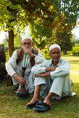 Kashmiri Men Sitting Outdoor Park Shisha Smoking