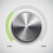 Volume button (music knob) with metal texture (chrome) and scale