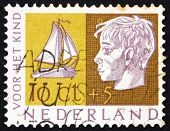 Postage stamp Netherlands 1953 Head of Child and Sailboat
