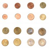 picture of alighieri  - Euro coins including both the international and national side of Italy - JPG