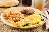Spinach And Feta Cheese Omelet With Sausage
