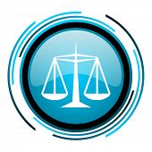 stock photo of judiciary  - justice blue circle glossy icon - JPG