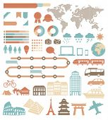 Tourism infographic set with colorful icons. Vector design elements