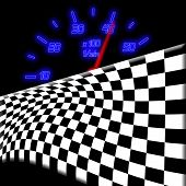 Racing Flag And Neon Glowing Odometer On The Black