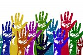 image of daycare  - Multicolored art from Hand prints with white background - JPG