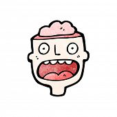 image of cannibalism  - cartoon man with exposed brain - JPG