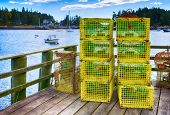 Lobster traps at a fishing pier