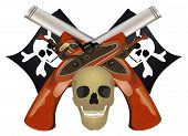 stock photo of crossed pistols  - Skull with the crossed pistols raster illustration - JPG