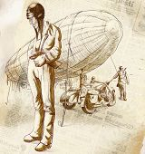 foto of sidecar  - Vintage hand drawn illustration from the series - JPG