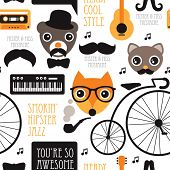 Seamless vintage hipster animal jazz music illustration background pattern in vector
