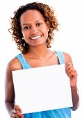 Black woman holding a banner - isolated over a white background