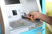 stock photo of automatic teller machine  - Close up ATM for withdraw your money in the outside - JPG